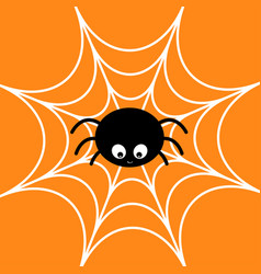 spider on the web cobweb white cute cartoon baby vector image vector image