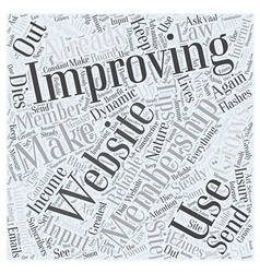 Tips on Improving Your Membership Site Word Cloud vector image vector image