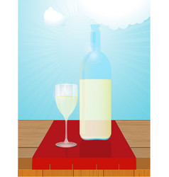 White wine bottle and glass on wood table vector