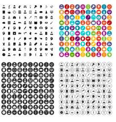100 psychotherapist icons set variant vector