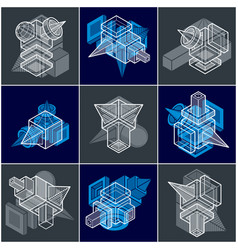 abstract 3d simple geometric shapes set vector image