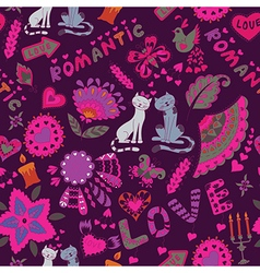 Abstract Romantic Background with Cats vector image