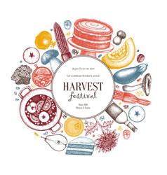 Autumn harvest festival design traditional vector