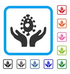 Biotechnology framed icon vector