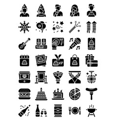 Birthday and party related solid icon set vector