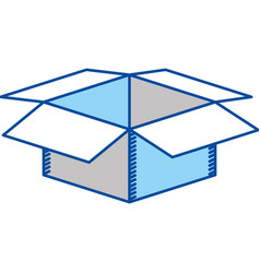 Blue contour of box of cardboard opened vector