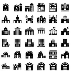 Buildings set solid design editable outline icons vector