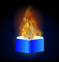 burning blue paper book with fire flame vector image