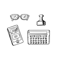 Business icons and symbols sketches vector image