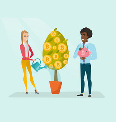 business woman watering tree with bitcoin coins vector image