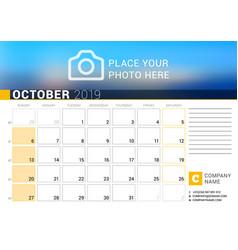 calendar for october 2019 design print template vector image