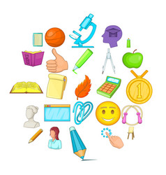 Campus icons set cartoon style vector