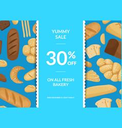 cartoon bakery elements sale poster vector image