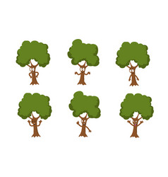 cartoon funny green tree characters vector image