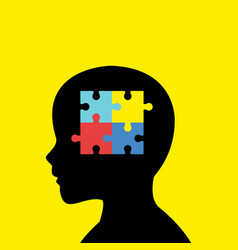 children head silhouette with autism icon vector image