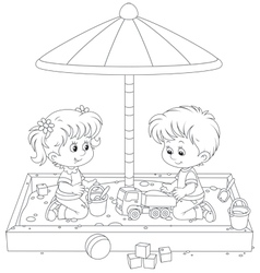Children play in a sandbox vector image