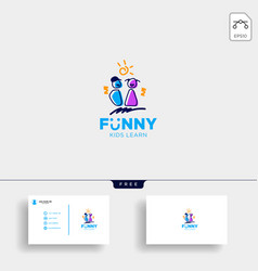 Children playing group education logo template vector