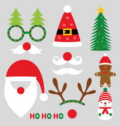 christmas party photo booth props set vector image