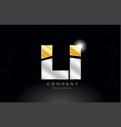 combination letter li l i alphabet with gold vector image