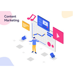 content marketing isometric modern flat design vector image