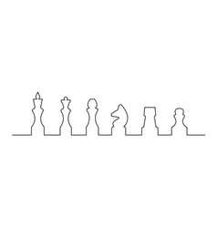 continuous one line chess piece or chessman king vector image