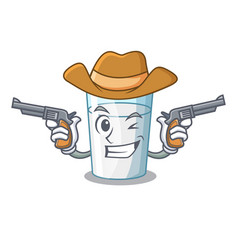 Cowboy character milk glass in dining table vector