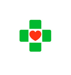 Cross with a heart in the middle logo clinic vector