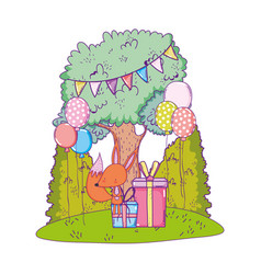 Cute and little fox with giftbox in the landscape vector