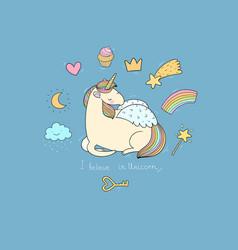 cute cartoon unicorn with wings vector image