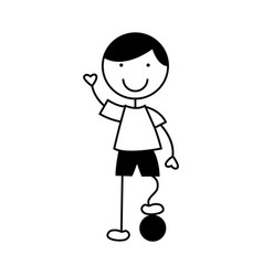 Cute little boy with soccer ball character vector