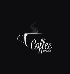 dark coffee logo cup coffee on black vector image