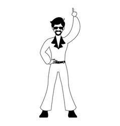 disco man cartoon in black and white vector image