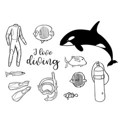diving icon doodle set underwater sea and ocean vector image