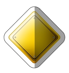 Dotted sticker rhombus safety road sign yellow vector