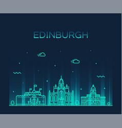 Edinburgh skyline scotland trendy a linear vector