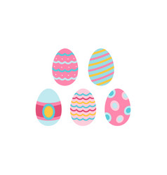 egg icons with ornament for easter holidays vector image