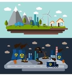 Environmental Pollution Banner Set vector image