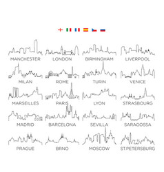europe skyline city line art design set 2 vector image