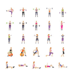 fitness games flat icons vector image
