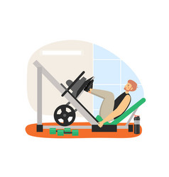 Fitness gym young man doing leg press machine vector