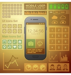 Flat Mobile UI User Interface Design Elements Kit vector