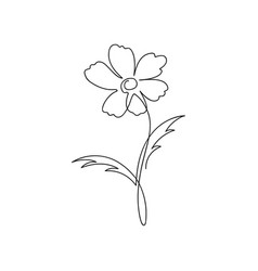 flower one line drawing continuous line flower vector image