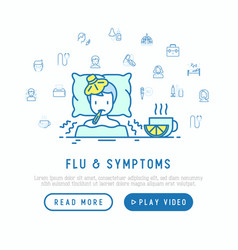 Flu and symptoms concept man with temperature vector