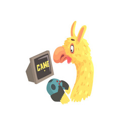 Funny llama character playing computer games cute vector