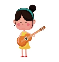Girl happy with guitar lovely vector