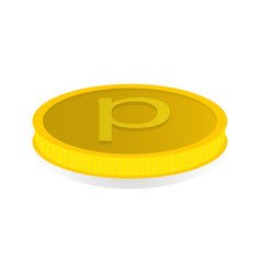 Gold coin with the symbol of the penny vector