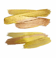 Gold texture paint stain set hand drawn brush vector