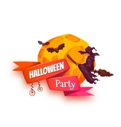 Halloween party banner with witch and moon vector image