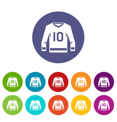 Hockey jersey icons set flat vector