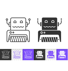 Household robot simple black line icon vector
